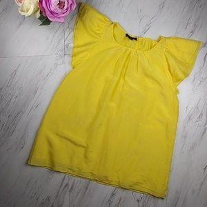 Alfani Yellow Flutter Cap Sleeve Top SZ2